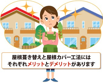 屋根葺き替えと屋根カバー工法には それぞれメリットとデメリットがあります