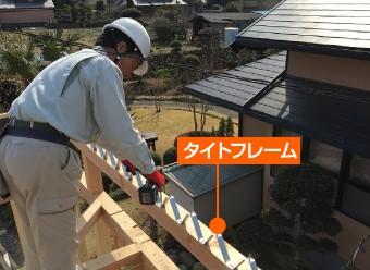 屋根を固定しているタイトフレーム
