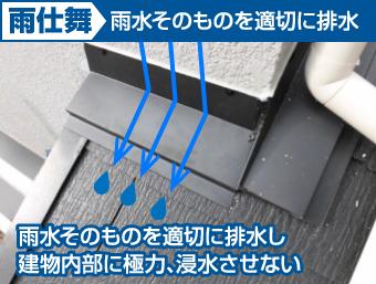 雨水そのものを適切に排水するのが雨仕舞の考え方