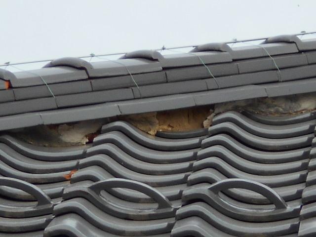 三日月漆喰のハガレ