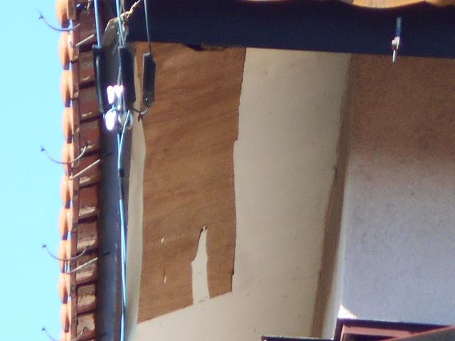 大垣市 軒天ベニヤの剥がれ、軒樋半丸105の外れ、外壁モルタルの汚れ・外装無料調査